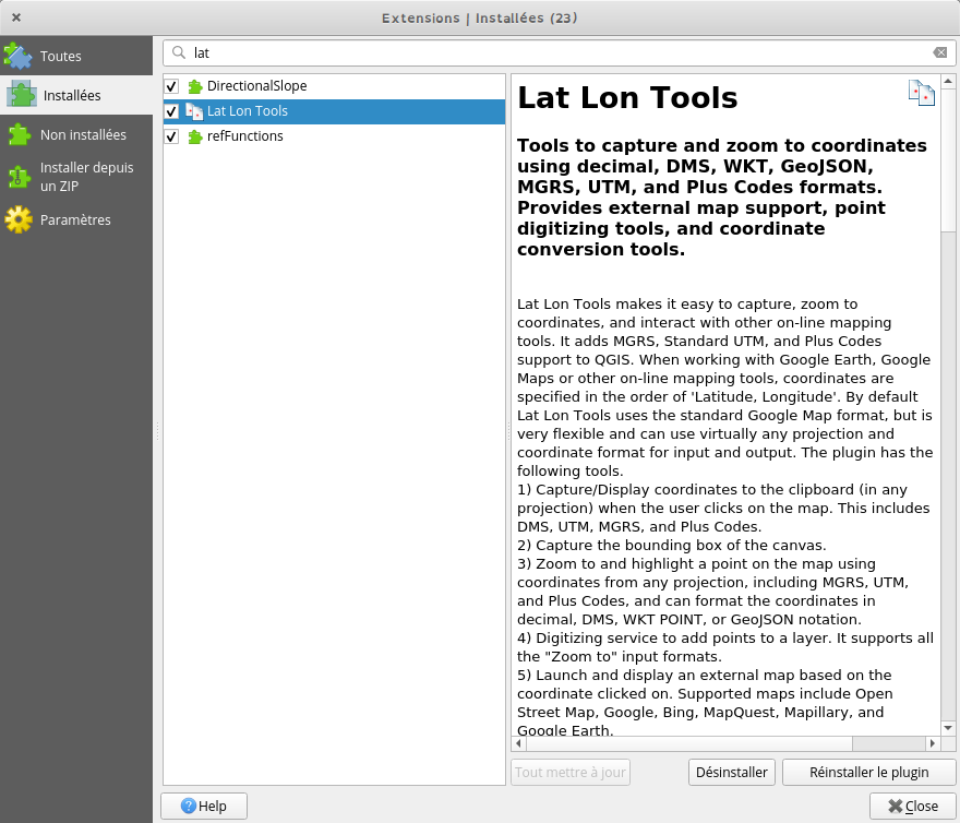plugin Lat Lon Tools