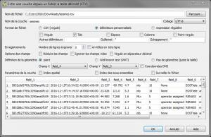 Creer une couche depuis un fichier à texte delimite (CSV)
