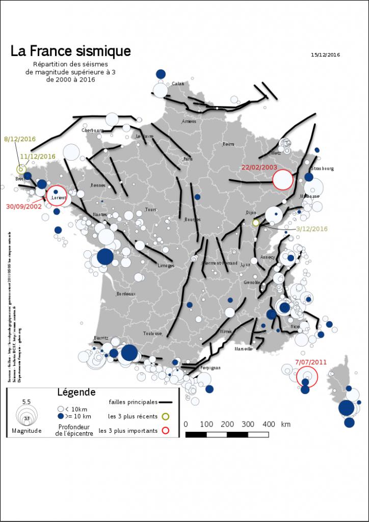 localisation des seismes en France